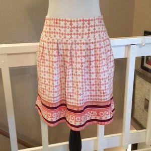 LOFT cream/Pink print linen skirt Size 4